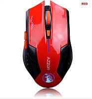 Оригинальная беспроводная игровая мышь Azzor со встроенным аккумулятором красная с черным