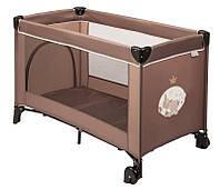 Прямоугольный манеж кроватка nattou 10679 коричневый с колесами Макс, Ноа и Том