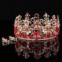 Комплект круглая корона с серьгами в золоте с красными камнями и жемчугом, диадема, высота 6,5 см.