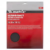 Шлифлист на бумажной основе, P 800, 230 х 280 мм, 10 шт., водостойкий MTX