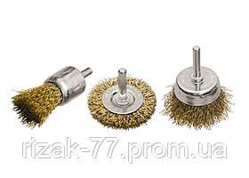 Набор щеток для дрели, 3 шт., 1 плоская, 50 мм, + 2 чашки, 25-50 мм, со шпильками, мет. MTX