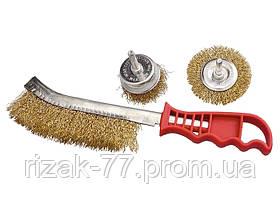 Набор щеток для дрели, 3 шт., 1 плоская, 65 мм , 50 мм чашка, ручная металлическая MTX