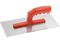 Гладилка стальная, 280 х 130 мм, зеркальная полировка, пластмассовая ручка, зуб 6 х 6 мм MTX