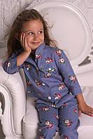 Льняной костюм для девочки, 110 - 140 см. Детский, подростковый модный летний костюм, лён.