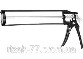 Пистолет для герметика, 310 мл, скелетный усиленный с фиксатором, 6-гранный шток 7 мм SPARTA