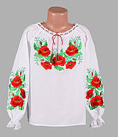 Блуза с вышитыми маками для девочки