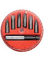 Набор бит, магнитный адаптер для бит, сталь 45Х, 7 предм., в пласт. закрытом боксе MTX