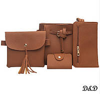 Набор женских сумок коричневый, фото 1