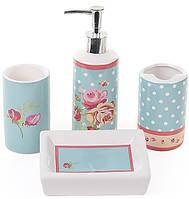 """Набор для ванной """"Розы"""" дозатор, подставка для щеток, стакан, мыльница"""