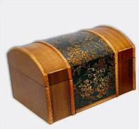 """Набор из двух деревянных шкатулок """"Сундучок Кофр Атлас"""", 26x18x15см и 21x14x11см"""