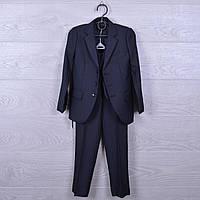 Костюм-тройка школьный для мальчиков. #1131. 50-58 размер (6-10 лет). Темно-серый. Школьная форма оптом