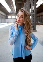 Женская блузка до длинного рукава с кружевом