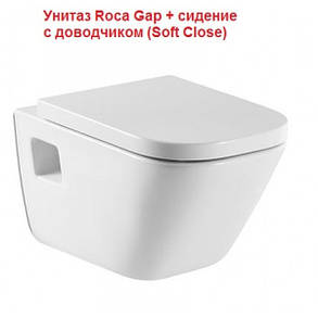 Roca GAP унитаз подвесной с сиденьем slow-closing (в упак.), фото 2