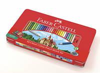 Цветные карандаши Faber-Castell Замок 60 цветов+аксессуары в металлической коробке 115894