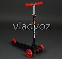 Десткий самокат Scooter mini micro колёса светятся ручка регулируется черный