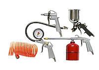 Набір пневмоінструменту, 5 предметів, швидкозємне зєднання, фарборозпилювач з нижнім бачком MTX