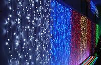 Гирлянда Водопад 300 LED Синяя Розовая Белая Мульти