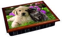 Поднос на подушке собака и кот