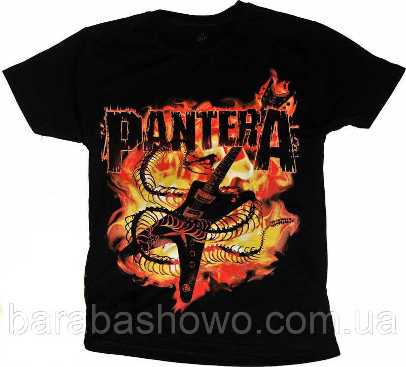 Рок футболка Pantera (гитара в пламени)