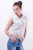 Женская рубашка-топ с перфорацией на завязках