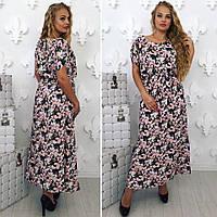 Летнее женское длинное платье в цветочный принт, фото 1
