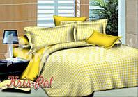 """Комплект постельного белья Евро двуспальный, поплин """"Клетка желто-белая"""""""