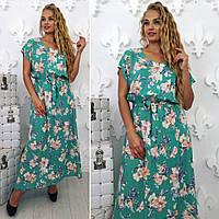 Летнее женское длинное платье в цветочный принт бирюзового цвета