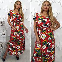 Летнее женское длинное платье в цветочный принт красного цвета, фото 1