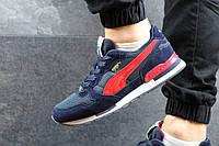 Puma RX727 Мужские кроссовки замшевые темно синие с красным