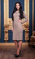 Платье ниже колен с воротником бежевое