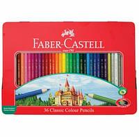 Цветные карандаши Faber-Castell Замок 36 цветов в металлической коробке 115886