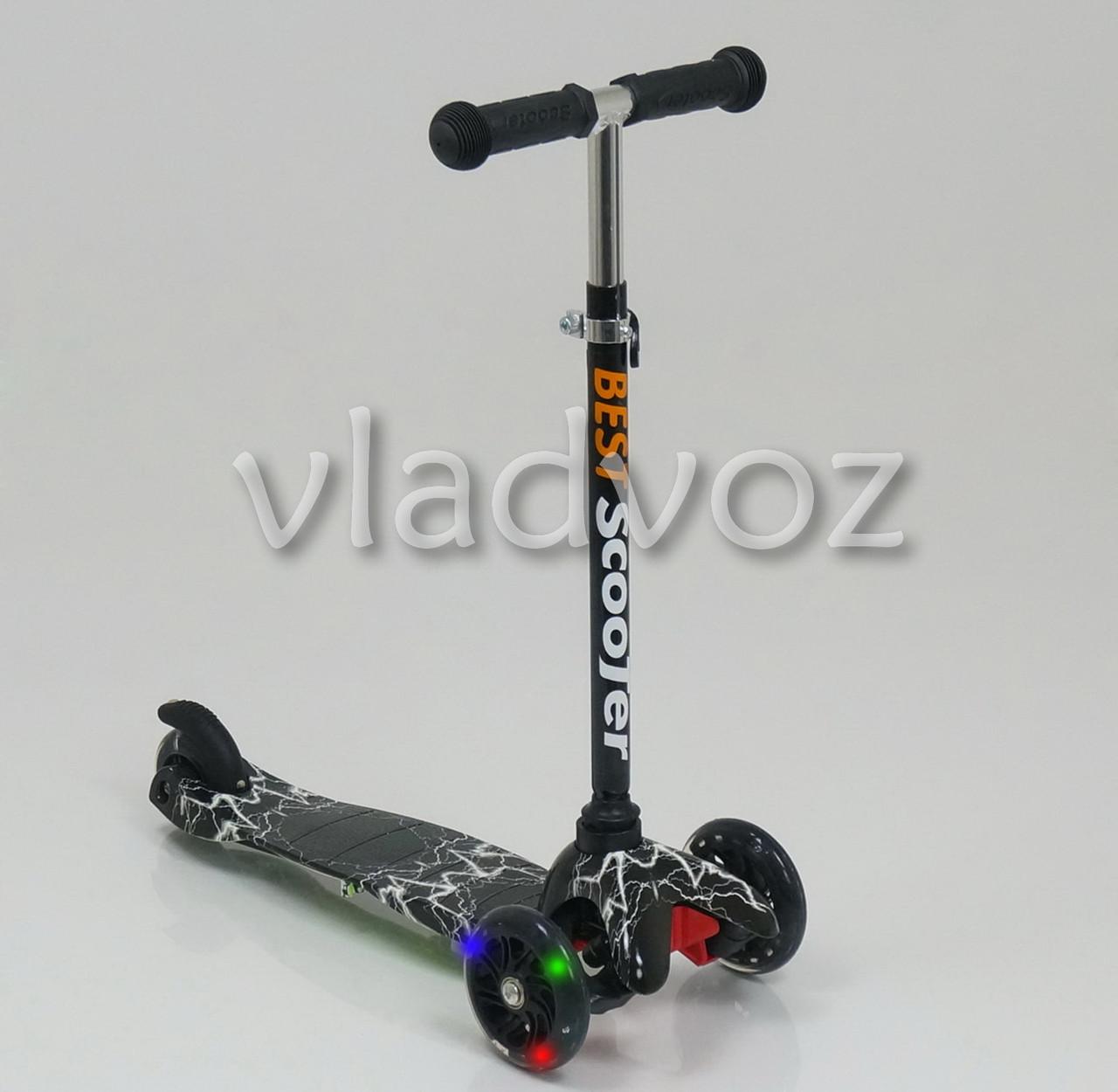 Десткий самокат Scooter mini micro колёса светятся ручка регулируется молния черная ручка