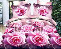 """Комплект постельного белья Евро двуспальный, 3D """"Розовые розы"""""""