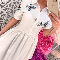 Стильное женское платье-поло с вышивкой