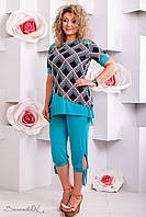 Модные женские брюки-капри для пышных модниц (микромасло, манжеты на завязках) РАЗНЫЕ ЦВЕТА!
