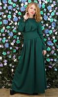 Платье-макси темно зеленое