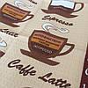 Готове вафельний рушник з видами кави 45х70 см