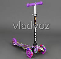 Детский самокат Scooter mini micro колёса светятся ручка регулируется графити фиолетовая ручка