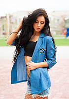 Джинсовый модный пиджак со звездами