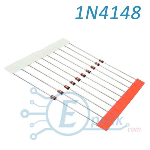 1N4148, быстрый диод 0.2А 100В, DO35