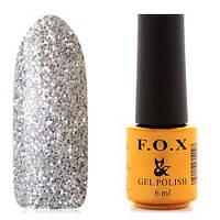 Гель-лак F.O.X  6 мл pigment №040 ( серебрянные блестки на прозрачной основе)