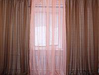 Комплект из шифона, декоративная гардина. Цвет коричневый с персиковым 002дк