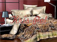 """Комплект постельного белья Евро двуспальный, ранфорс 3D """"Гепарды"""""""