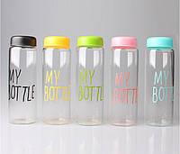 Бутылка для напитков MY BOTTLE + чехол, черная, салатовая, бирюзовая, розовая, желтая
