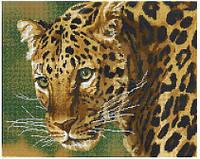 """Схема для вышивки бисером """" Взгляд Леопарда""""(полная зашивка)"""