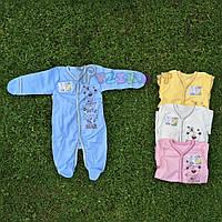 """Человечек трикотажный """"Мишка"""" (100% хлопок, интерлок) 56, 62 р-р., голубой, фото 1"""