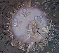 Свадебная круглая подушка под кольца № 1 (айвори / кремовая)