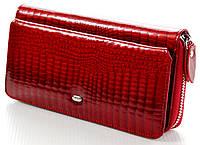 Женский кожаный кошелек клатч ST на молнии с визитницей лаковый
