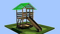 Детский домик игровая площадка c горкой и песочницей из дерева, фото 1