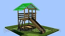 Детский домик игровая площадка c горкой и песочницей из дерева